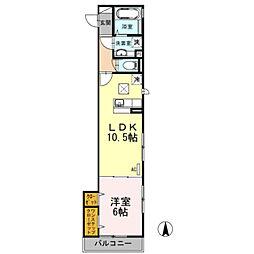 セジュール武蔵新城[102号室]の間取り