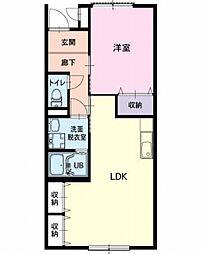 愛知県北名古屋市弥勒寺東4丁目の賃貸アパートの間取り