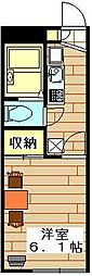 東武野田線 大和田駅 徒歩32分の賃貸アパート 1階1Kの間取り