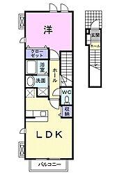 愛知県豊川市小田渕町5丁目の賃貸アパートの間取り
