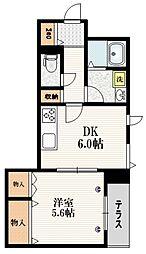 東京メトロ南北線 志茂駅 徒歩10分の賃貸マンション 1階1DKの間取り
