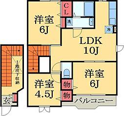 京成本線 京成佐倉駅 徒歩24分の賃貸アパート 2階3LDKの間取り