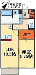 JR総武線 稲毛駅 徒歩29分の賃貸マンション 2階1LDKの間取り