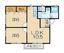 ニューハイツY[1階]の間取り