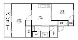コーポ田加屋 B[2階]の間取り