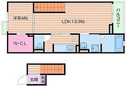 阪急宝塚本線 池田駅 徒歩17分の賃貸マンション 4階1LDKの間取り