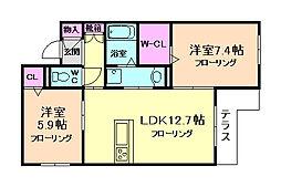 大阪府豊中市螢池東町2丁目の賃貸アパートの間取り