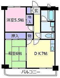 エルベコート松原[2階]の間取り