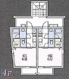 エムズ アベリア 4階1Kの間取り