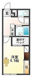 愛知県豊川市平尾町番皿の賃貸アパートの間取り