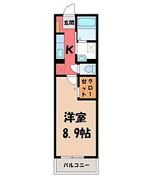 JR東北本線 宇都宮駅 バス12分 中久保下車 徒歩6分の賃貸マンション 1階1Kの間取り