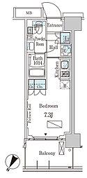 パークアクシス横濱大通り公園 7階ワンルームの間取り