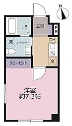Liberte浅草 4階1Kの間取り