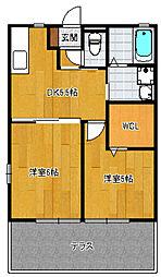 サンハイツ有田[B102号室]の間取り