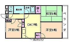 大阪府豊中市熊野町4丁目の賃貸マンションの間取り