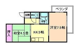 ラミーゴ中桜塚[2階]の間取り