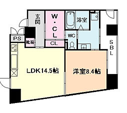 WOB NISHIUMEDA(ウォブ西梅田)[7階]の間取り