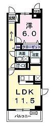 JR横須賀線 新川崎駅 徒歩18分の賃貸マンション 2階1LDKの間取り