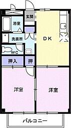 愛知県豊川市野口町前野の賃貸アパートの間取り