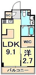 阪神本線 芦屋駅 徒歩9分の賃貸マンション 2階1LDKの間取り