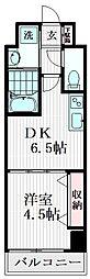 ミューズ竹の塚 8階1DKの間取り