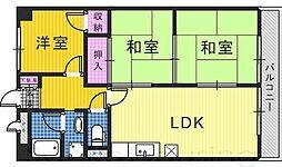 パークテラス北花田[6階]の間取り