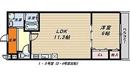 大阪府堺市北区百舌鳥赤畑町4丁丁目の賃貸アパートの間取り