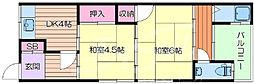 大阪府吹田市千里山西1丁目の賃貸アパートの間取り