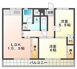 ビレッジハウス三好[2階]の間取り