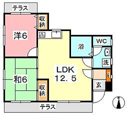 アサヒコーポ IIA[1階]の間取り