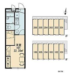 JR常磐線 我孫子駅 徒歩8分の賃貸アパート 2階1Kの間取り