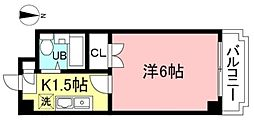 JR中央線 国立駅 徒歩14分の賃貸マンション 2階1Kの間取り