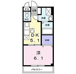 大阪府大阪狭山市半田2の賃貸アパートの間取り