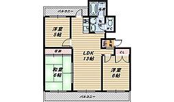 大阪府和泉市富秋町3丁目の賃貸マンションの間取り
