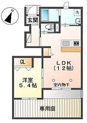 埼玉新都市交通 加茂宮駅 徒歩4分の賃貸マンション 1階1LDKの間取り