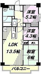 埼玉県所沢市上新井3丁目の賃貸マンションの間取り