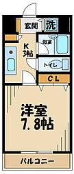 INOUEビル 3階1Kの間取り