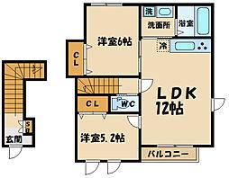 京王線 東府中駅 徒歩8分の賃貸アパート 2階2LDKの間取り