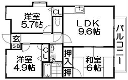 寝屋川松本ハイツ[1階]の間取り