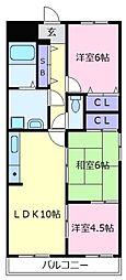 ベルデフラッツ松野[2階]の間取り