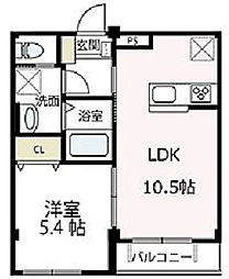 JR横須賀線 新川崎駅 徒歩23分の賃貸マンション 1階1LDKの間取り