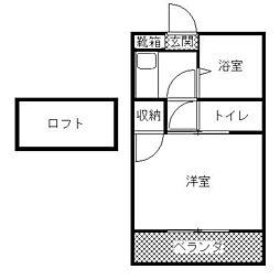 ロ−レル片江[204号室]の間取り