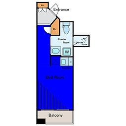 JR山手線 五反田駅 徒歩3分の賃貸マンション 6階ワンルームの間取り
