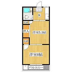 第3ヒルズハウス[202号室]の間取り