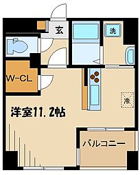 ラフィネール 1階ワンルームの間取り