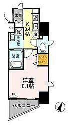東武伊勢崎線 越谷駅 徒歩5分の賃貸マンション 8階1Kの間取り