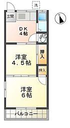 愛知県豊田市小坂本町4丁目の賃貸アパートの間取り