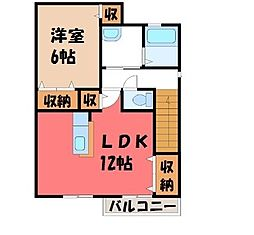 栃木県宇都宮市若草3の賃貸アパートの間取り