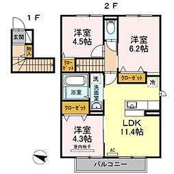 セジュールKogaIIIA棟[A203号室]の間取り