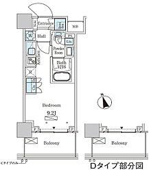 パークアクシス大塚ステーションゲートタワー 22階ワンルームの間取り